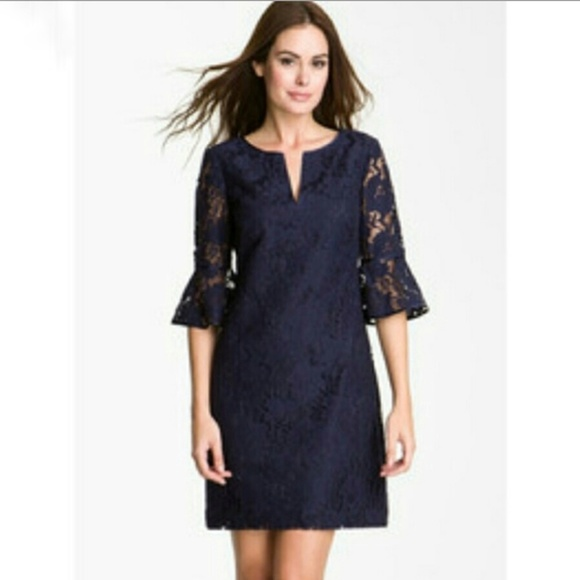 8afb81f60ad32 Adrianna Papell Dresses & Skirts - Adrianna Papell Navy Blue Bell Sleeve  Lace Dress 6